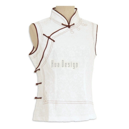 White Sleeveless Traditional Chinese Top