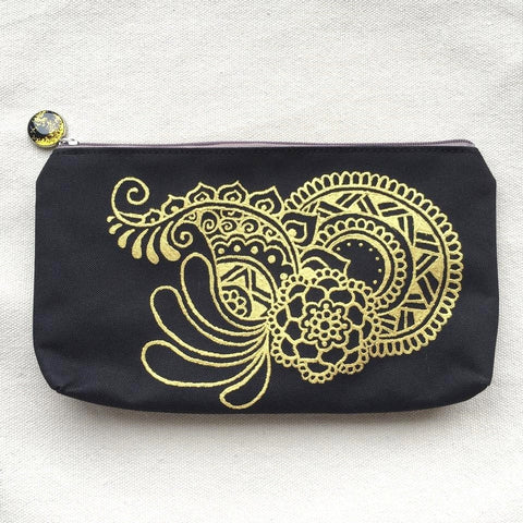 Henna Art Zipper Pouch (Black & Gold 3)