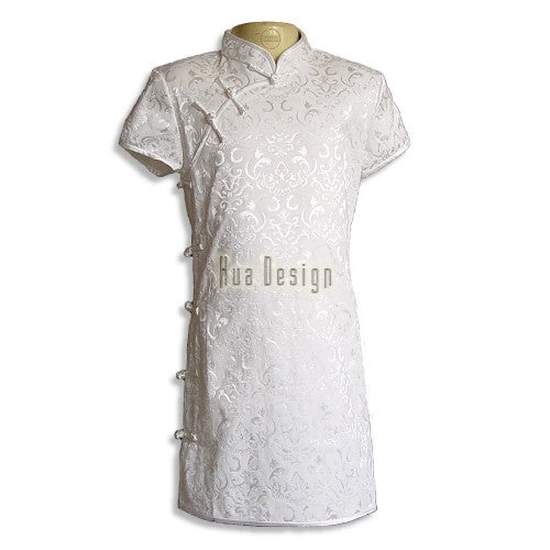 White Girls Floral Fabric Cheongsam SK17