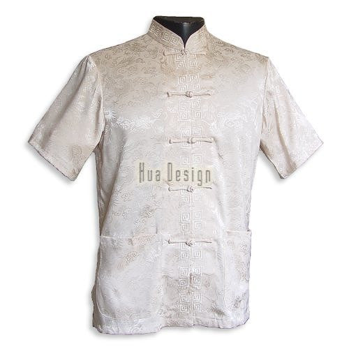 Beige Men's Dragon Shirt SL03