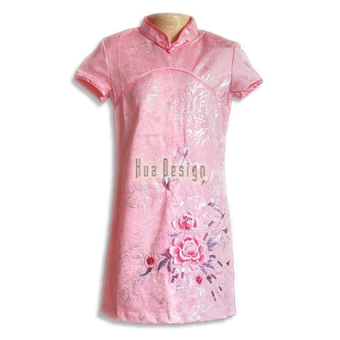 Pink Girls Floral Embroidery Cheongsam