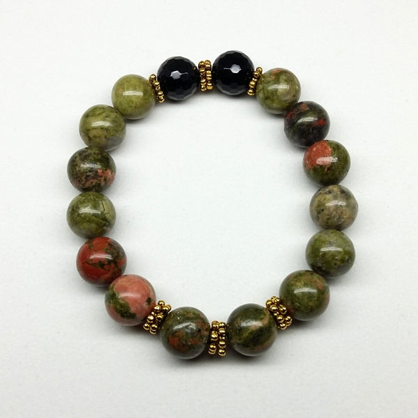 Unakite & Faceted Black Agate Stone Bracelet