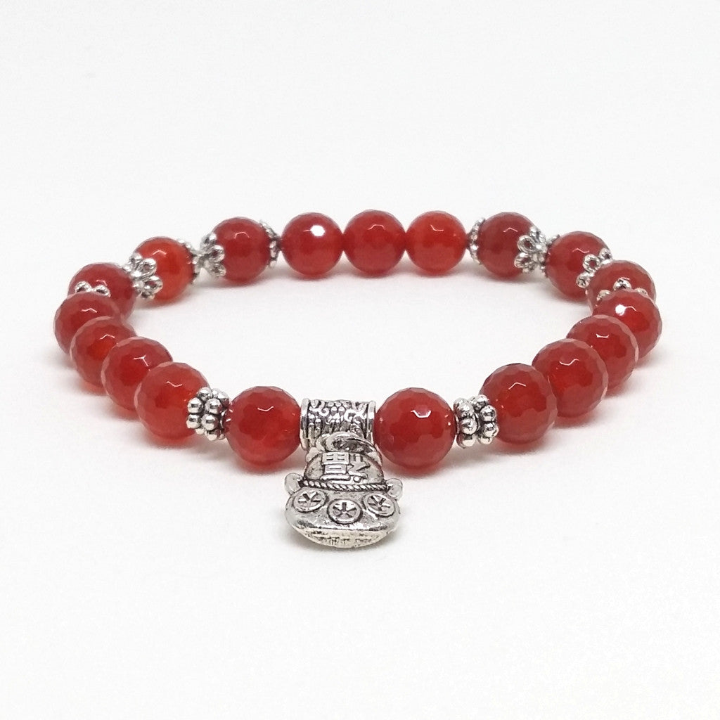 Faceted Red Agate Stone Bracelet