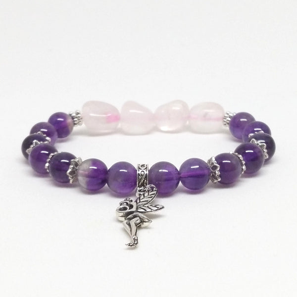 Rose Quartz and Amethyst Stone Bracelet