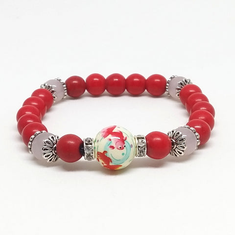 Red Jasper and Rose Quartz Stone Bracelet