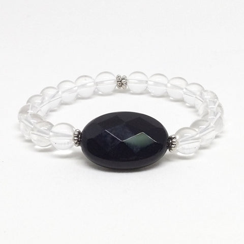 Clear Quartz and Black Agate Stone Bracelet