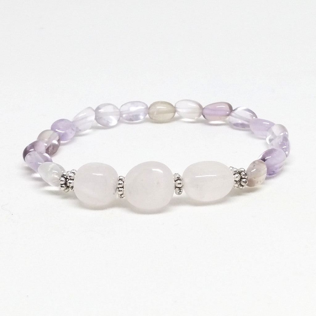 Ametrine and Rose Quartz Stone Bracelet