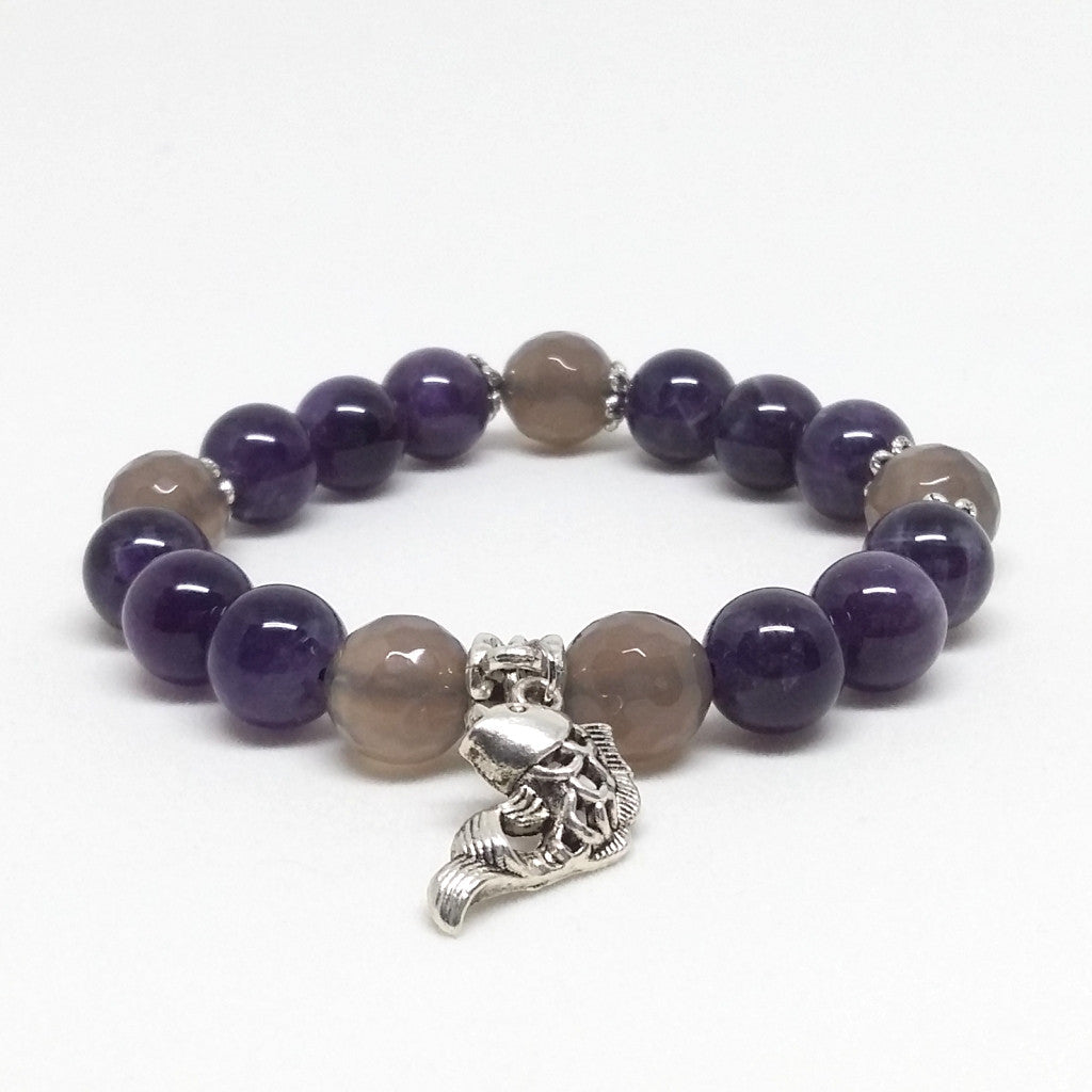 Amethyst and Smoky Agate Stone Bracelet