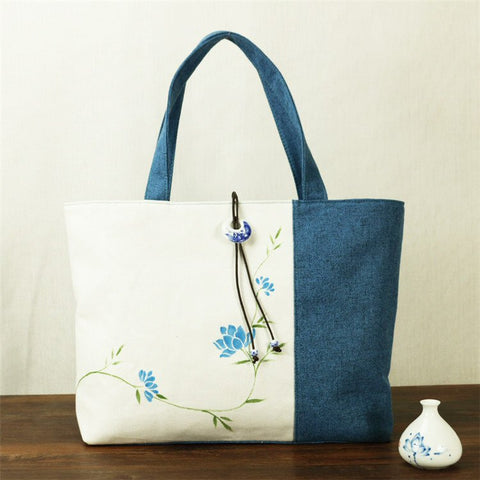 Hand-Painted Tote Bag (Blue & White)