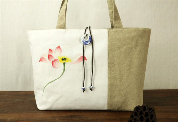 Hand-Painted Tote Bag (Khaki & White)