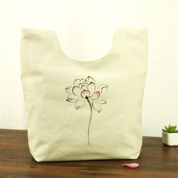 Hand-Painted Tote Bag (Beige)