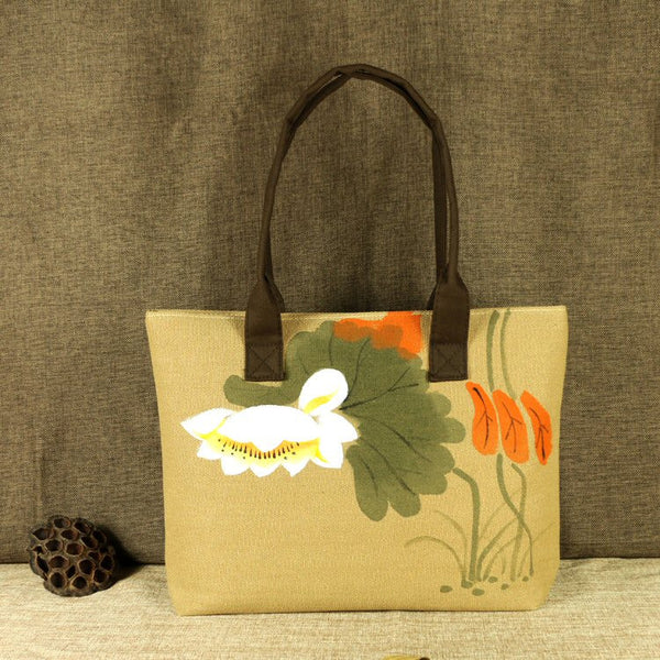 Hand-Painted Tote Bag (Tan)