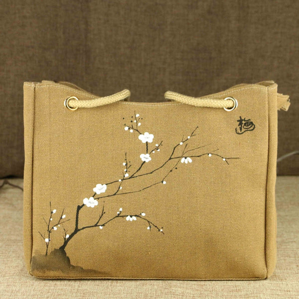 Hand-Painted Handbag (Tan)