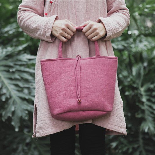 Plain Cloth Handbag (Pink)