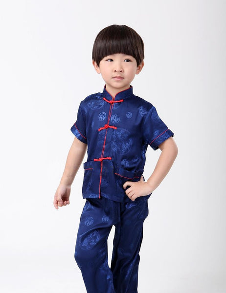 Boys Short-Sleeve Kung Fu Suit (Blue)