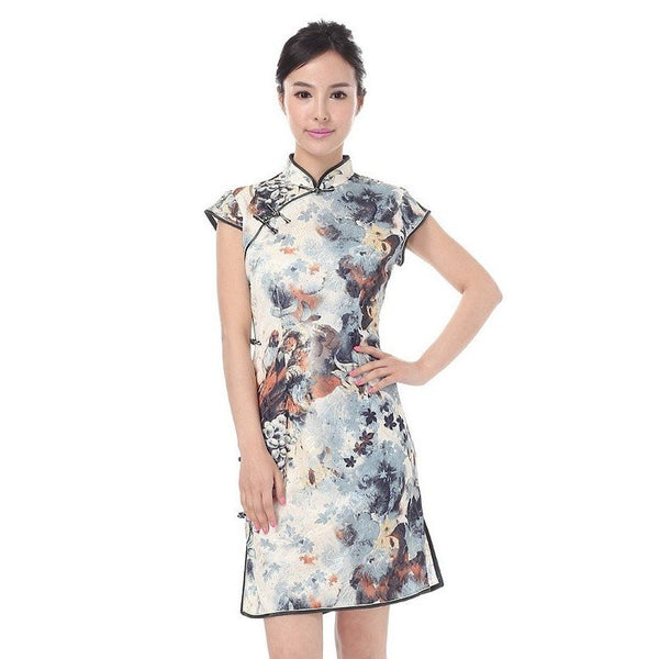 Watercolor Cheongsam Dress