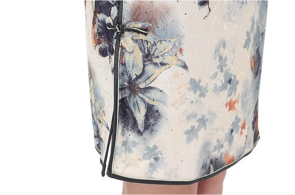 Watercolor Cheongsam Dress (Close-up)