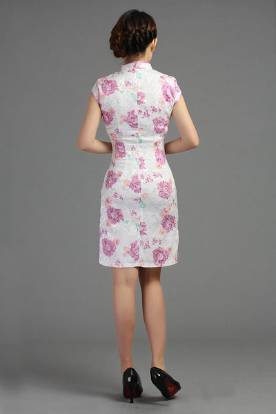 Purple Flower Jacquard Cheongsam