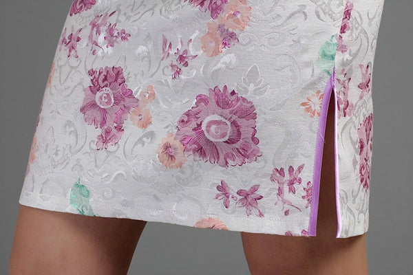 Purple Flower Jacquard Cheongsam (Close-up)
