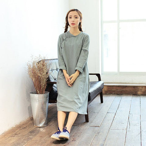Plain Linen Cheongsam Gown (Dark Green)
