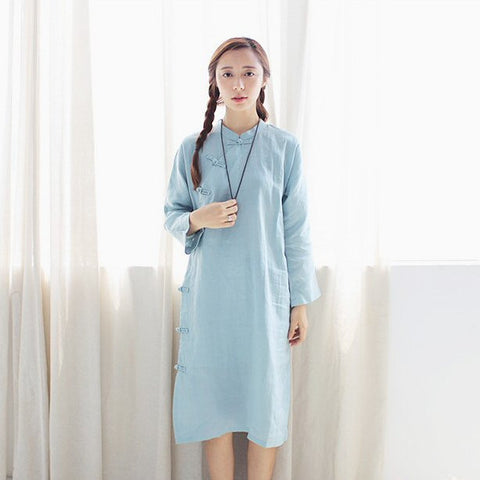 Plain Linen Cheongsam Gown (Light Green)