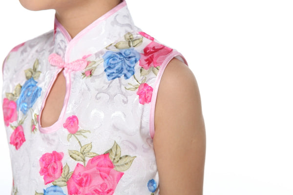 Girls Floral Fabric Cheongsam TBGC01 (Close-up)