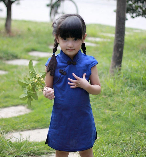 Girls Plain Linen Blue Cheongsam