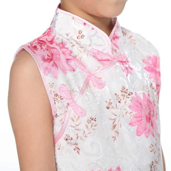 Girls Floral Fabric Cheongsam TBGC03 (Close-up)