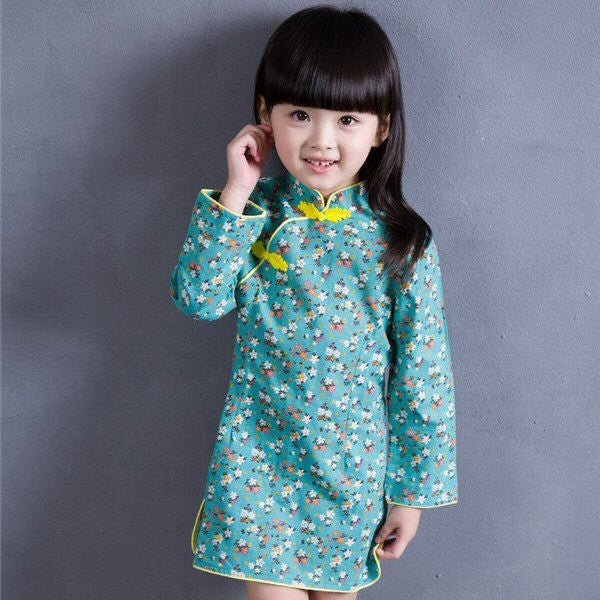 Girls Green Floral Cheongsam Dress