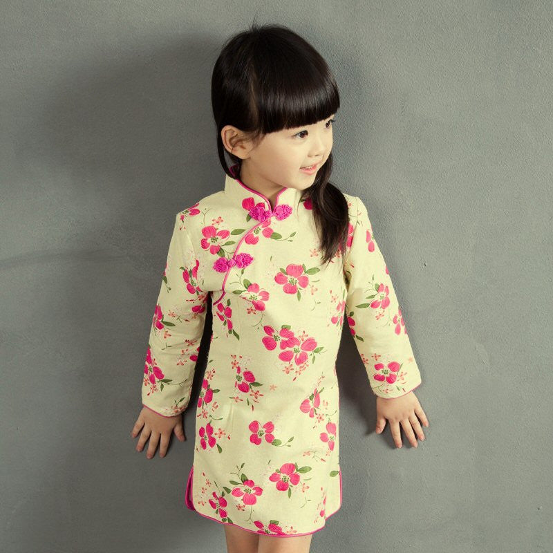 Girls Cotton Floral Cheongsam Dress