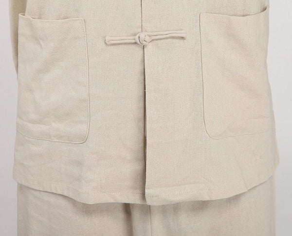 Linen Kung Fu Suit (Beige) (Close-up)