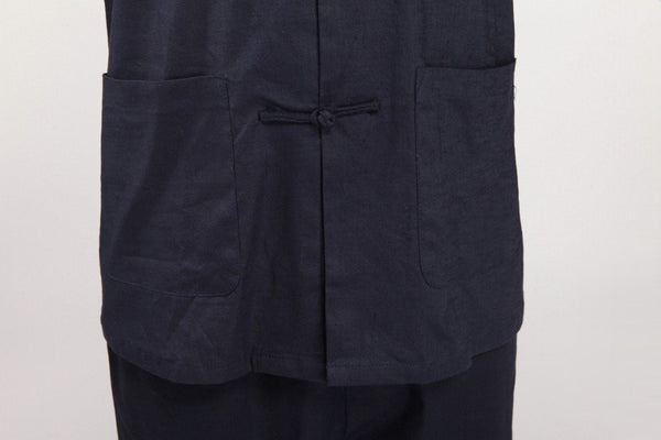 Navy Linen Kung Fu Suit (Close-up)
