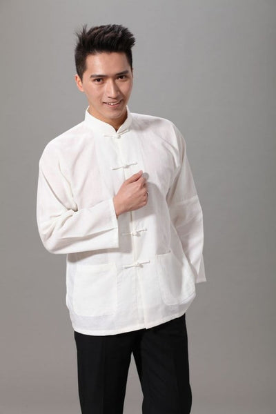 Plain Cotton Kung Fu Shirt (White)
