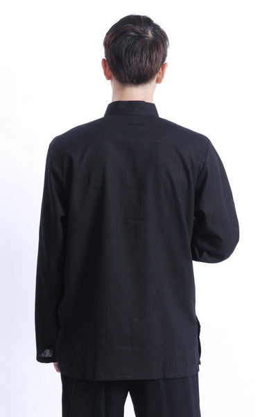 Plain Cotton Kung Fu Shirt (Black)