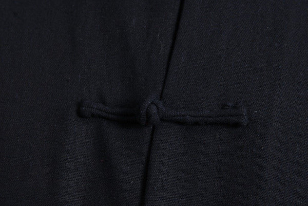 Plain Cotton Kung Fu Shirt (Black) Close-up