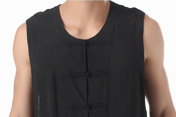 Men's Silk Vest (Black) Close-up