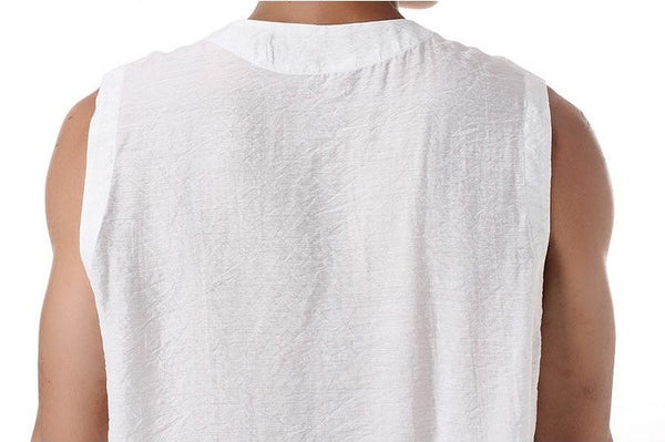 Men's Silk Vest (White) Close-up