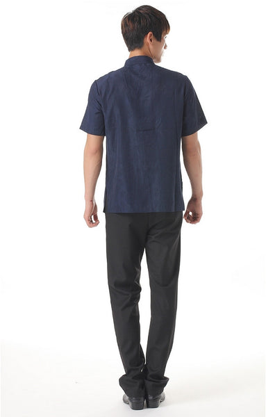 Men's Navy Blue Mandarin Shirt