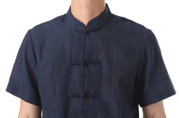 Men's Navy Blue Mandarin Shirt (Close-up)