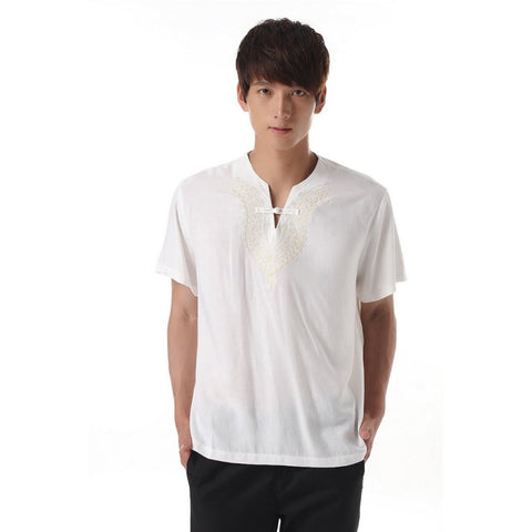 Men's White V-Neck Shirt