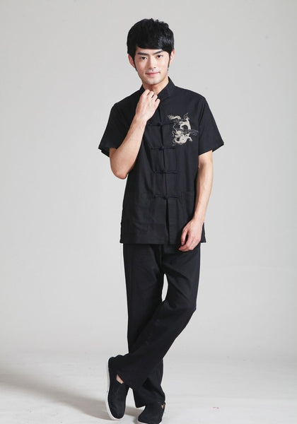 Black Linen Dragon Shirt