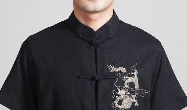 Black Linen Dragon Shirt Close-up