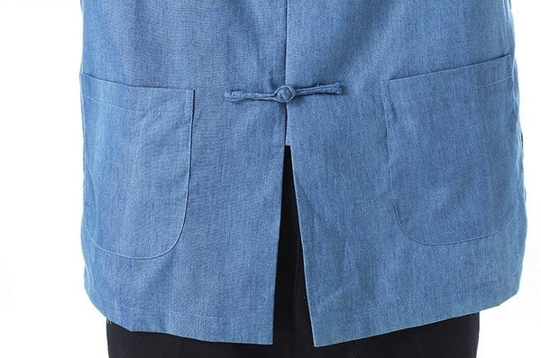Plain Blue Cotton Shirt (Close-up)