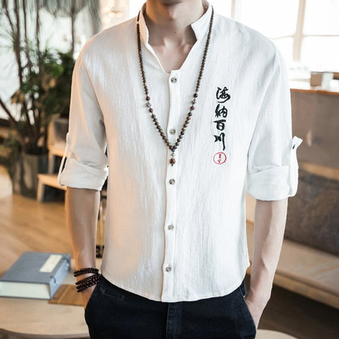 Chinese Embroidery Linen Shirt