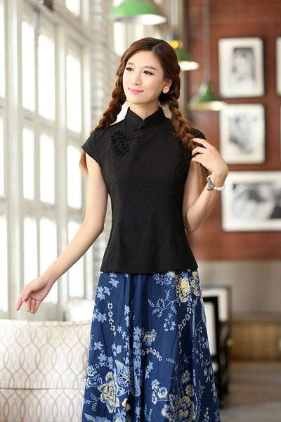 Linen Chinese Blouse (Black)