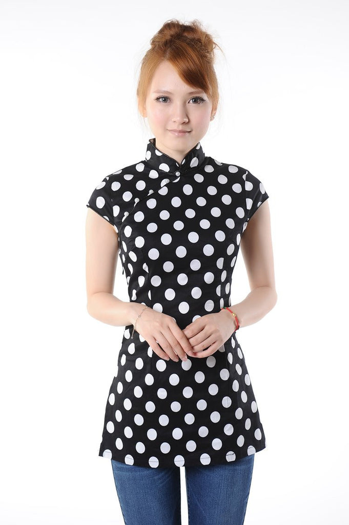 watch bright n colour select for latest Polka Dot Chinese Blouse