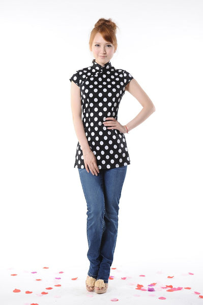 Polka Dot Chinese Blouse