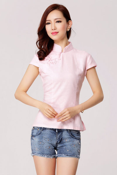 Linen Chinese Blouse (Pink)