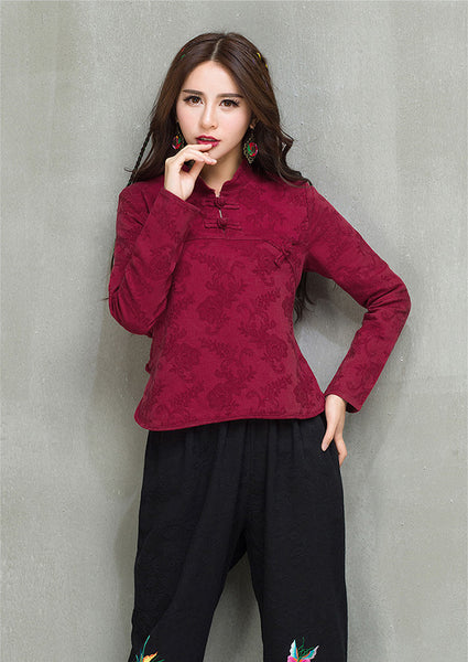 Wine Red Jacquard Blouse