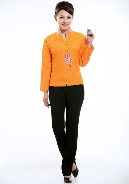 Brocade Collar Orange Jacket